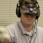 Person wearing a virtual reality headset